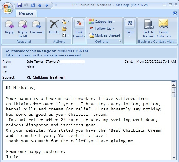 Email Recently Recieved From Julie Taylor about Best Chilblains Treatment
